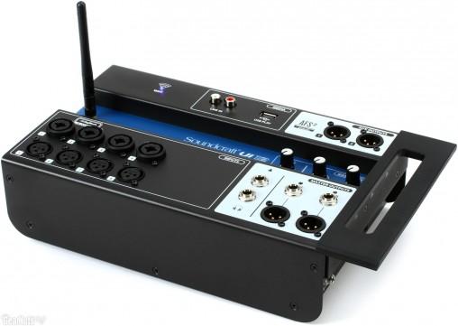 """Микшер Soundcraft Ui12 - массивная передняя панель с """"обрубком"""" сзади."""